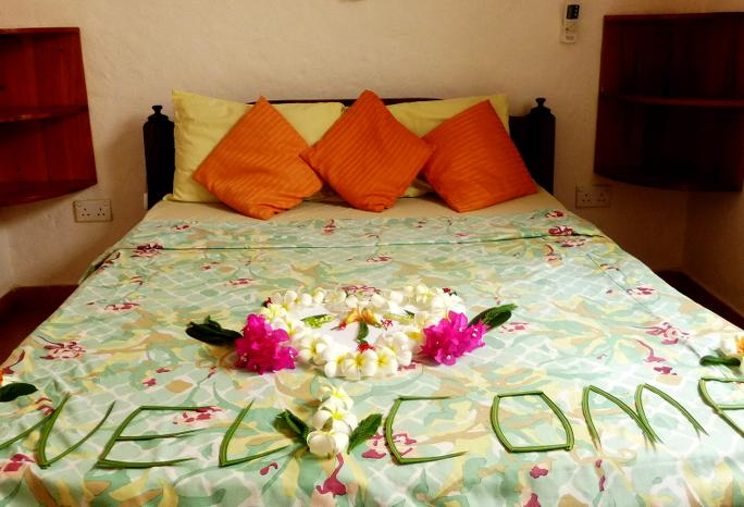 Bedroom with big double bed, Air conditioning, ceiling fan, TV (1 channel + DVD-Player)  etc...