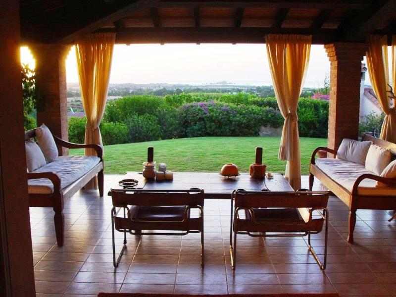 The spacious veranda of the villa with sea view