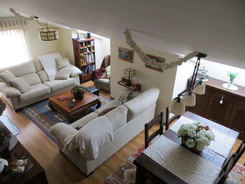 Vista superior del Salón con mesa comedor extensible para más de 8 personas.