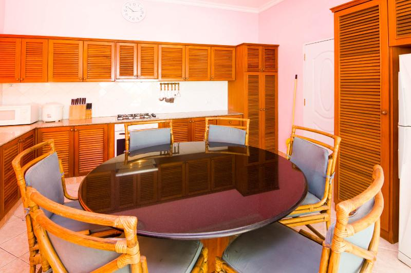View on big kitchen, with gas-cooker with 4 burners, electric stove, rice cooker and microwave