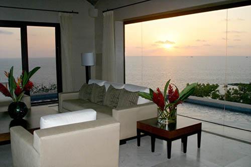 Indoor living room sunset
