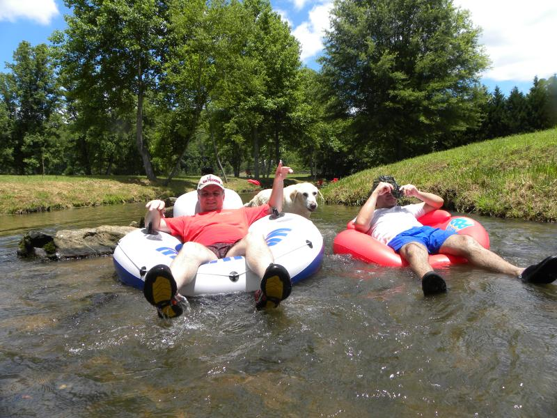 tubing down the creek on property