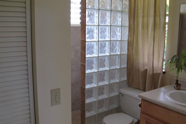 Bathroom, walk in shower and clothes closet