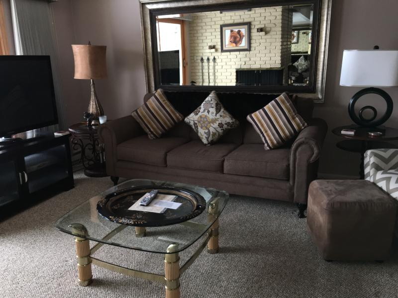 Living area with firepplace