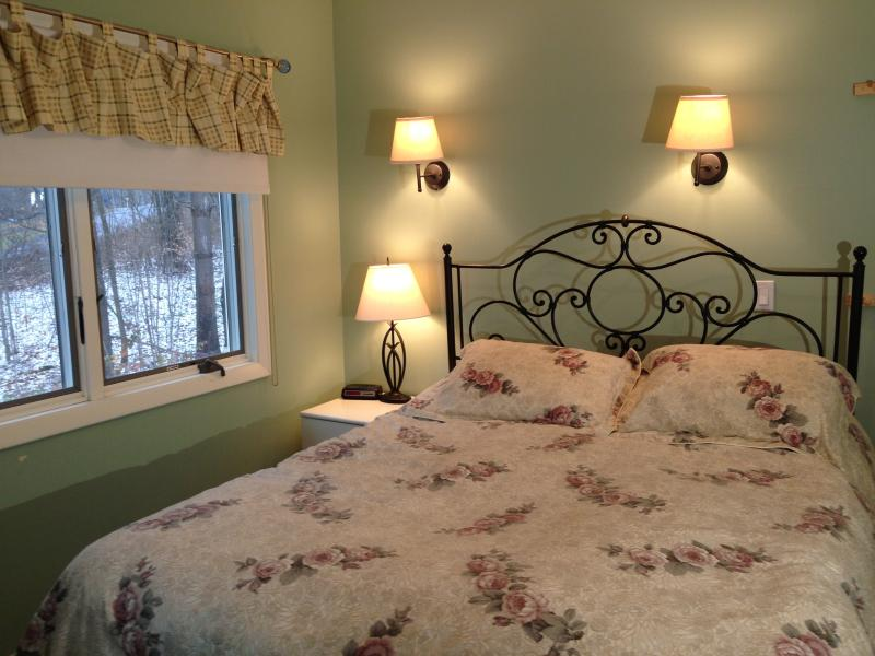 Queen bed in the master - with a fab view of trees and just a bit of snow..