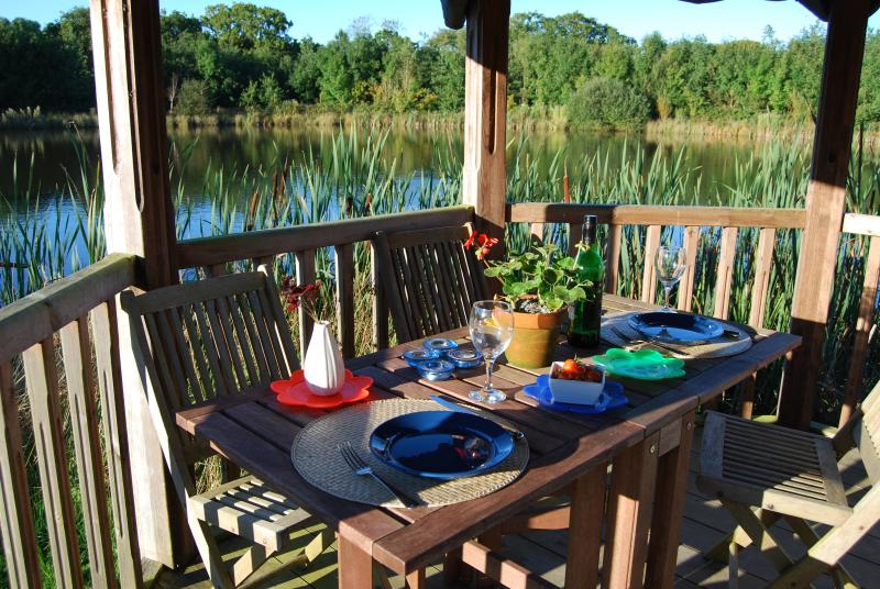 You're welcome to use the summer house for a meal by the lake, or to relax and read a book.