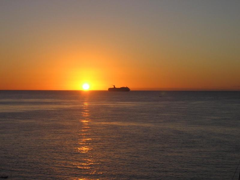 You will not want to miss the sunsets from the terrace. Here is the ferry heading to Playa.