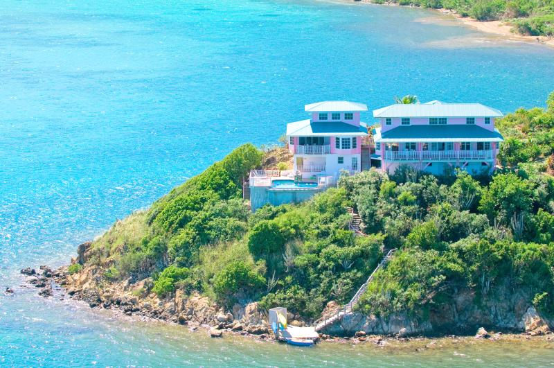 The Villa is on a peninsula with water on three sides. Your views of the Caribbean will amaze you