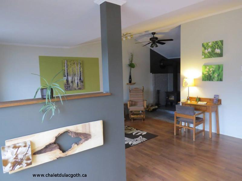 Living room, wood stove