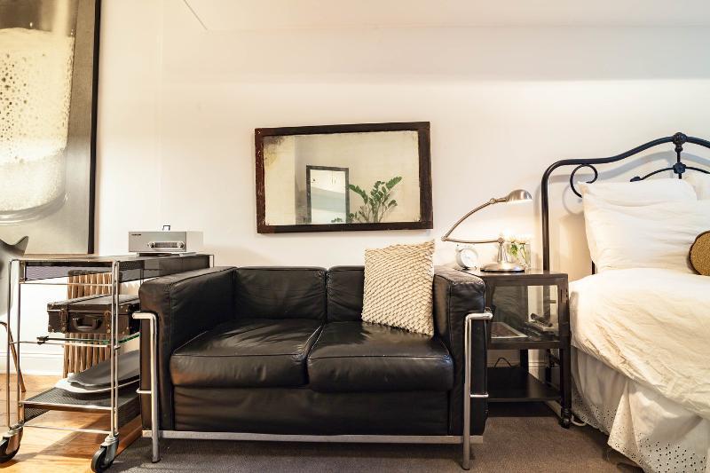 Original leather Corbusier sofa.