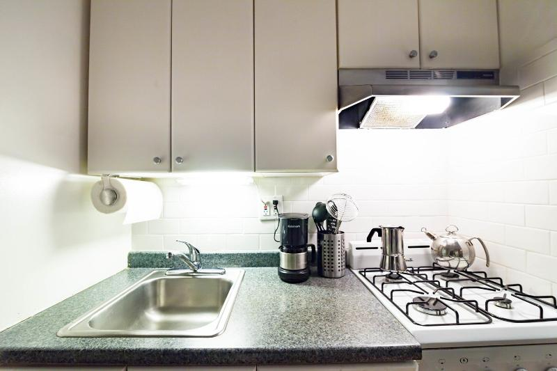 Kitchen with under counter lighting.