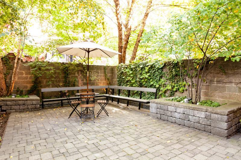 Quiet backyard space.