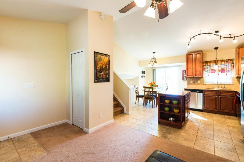 Bedrooms are located upstairs from the main level