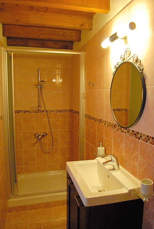Le Pachni est équipé d'une salle de bains moderne avec douche, en nuances terreuses. Serviettes et services qu'il offre.