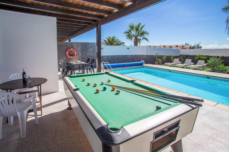 private garden with pool and billard