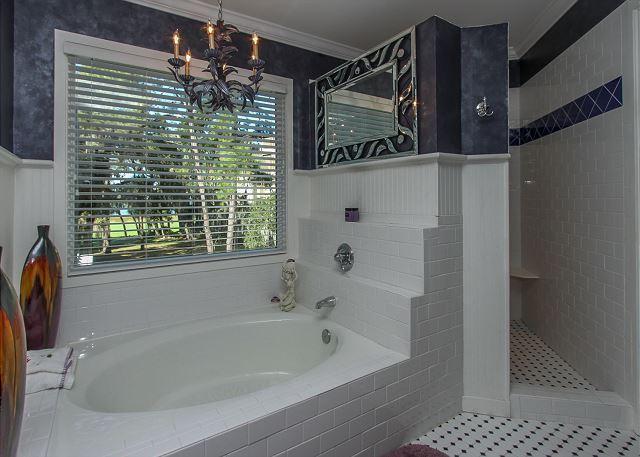 Master Suite jardín bañera y ducha walk-in