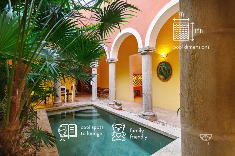 The private pool and dining area segue into the indoors, bringing the tropics in.