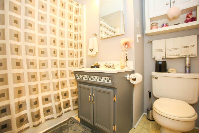 vanity bathroom with shower and bathtub with easy access for all guests from the hallway