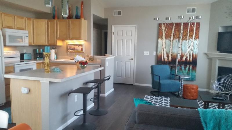 Salon et cuisine vue de salle à manger