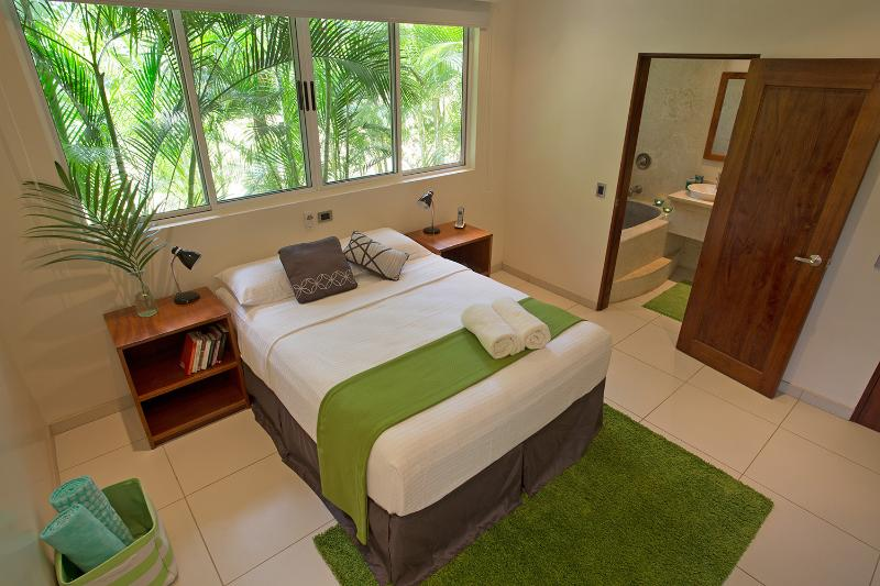 A very stylish and modern vacation rental home. One of the two spacious bedrooms.