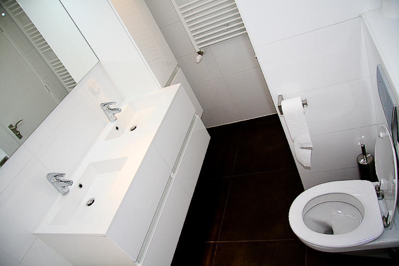 bathroom with extra toilet and bath tub
