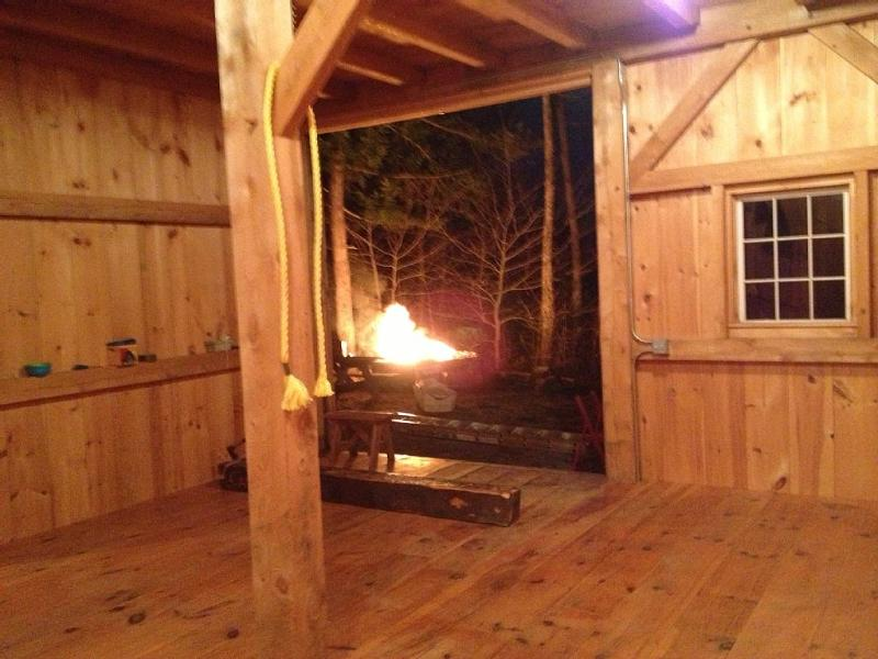 A look out the barn doors at the firepit