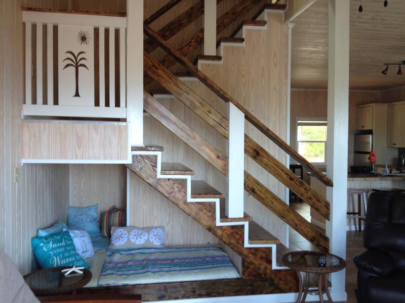 Single Bed under steps