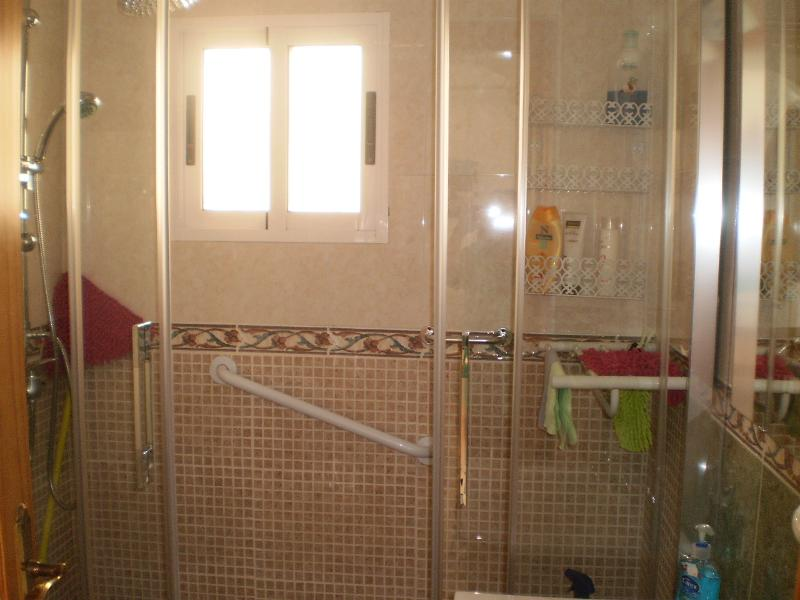 Bathroom with walk in shower and safety grab handles.