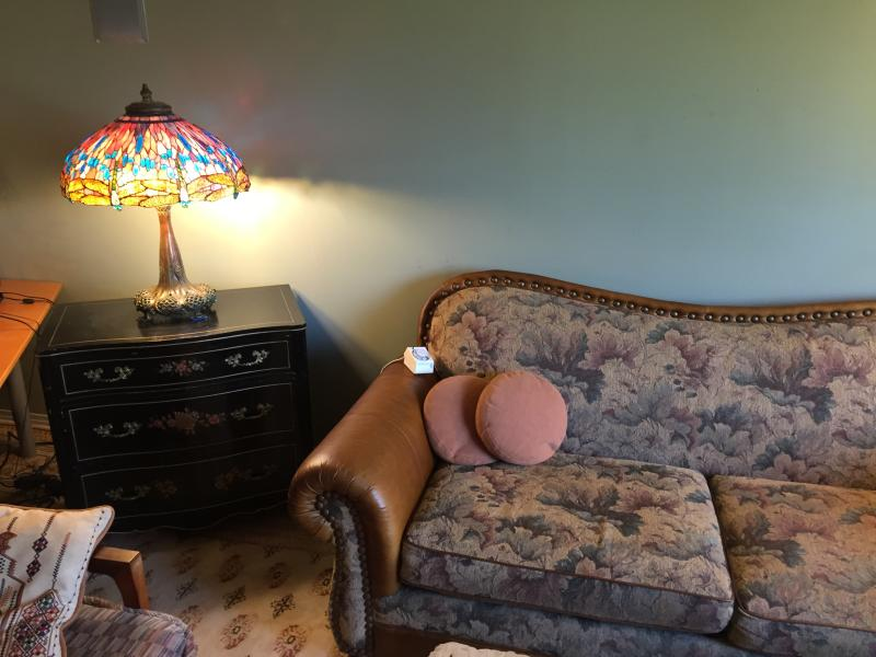 Tiffany reproduction lamp. Shade was hand-made by the artist