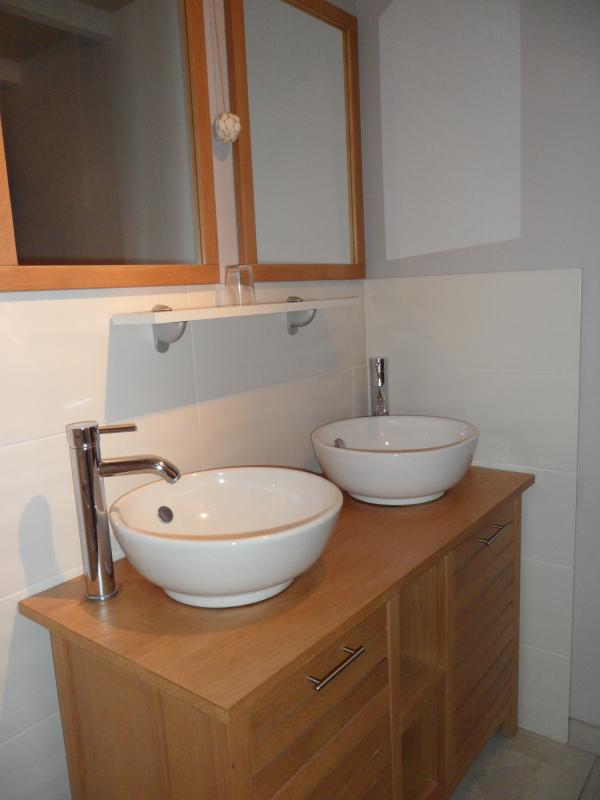Bathroom double sinks and walk-in shower