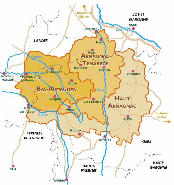 Map of Armagnac; the vineyards in Ténarèze