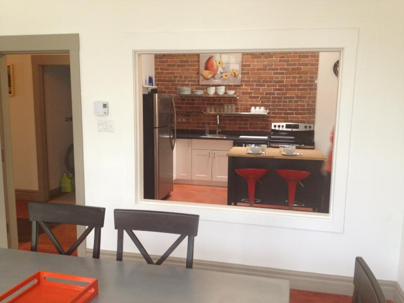 View of the kitchen from the dining room area.