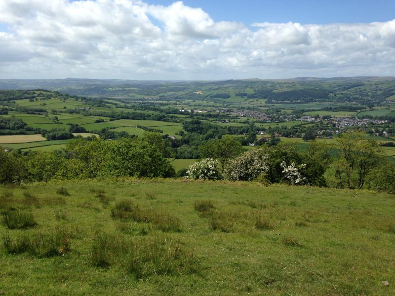 View of Hay-on-Wye on walk from Dorstone