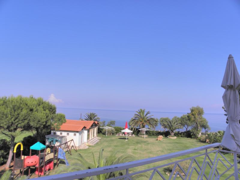 The garden  in front of the Apartment Irida Beach Suites, close to pristine sandy beach  Kyparissia.