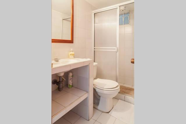Secondary bathroom outside the room with relaxing hot shower, Clean towels and FREE (shampoo, condit