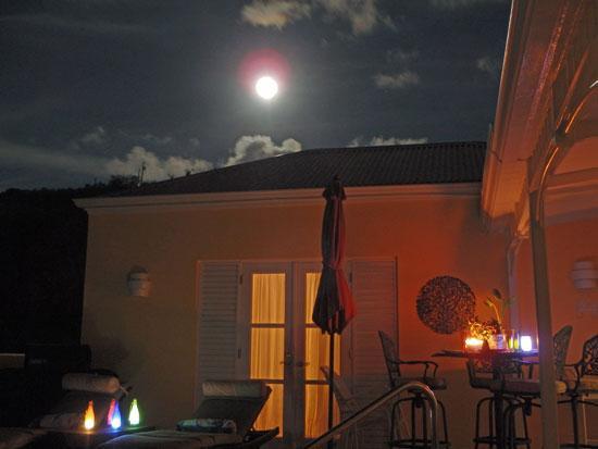 Full moon over villa