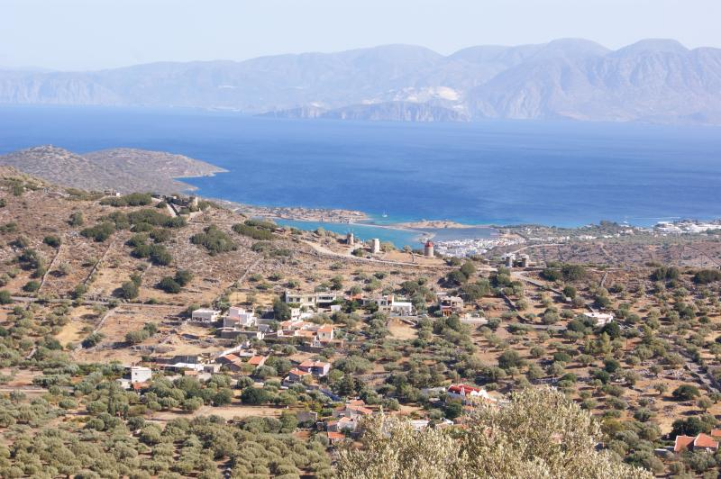 View from the hill over the village of Pines and Elounda