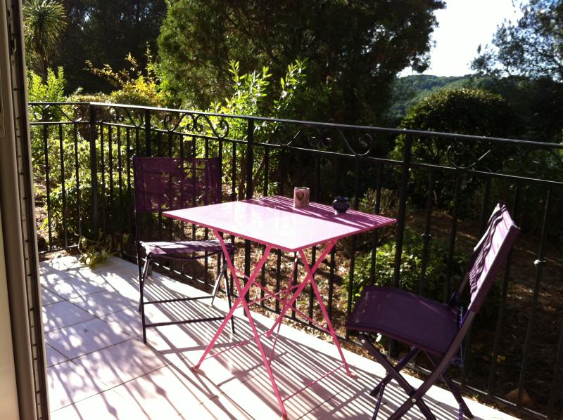 Terrace with afternoon sun.  Ideal for your meals outside.  There are extra chairs  ;)
