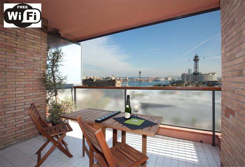 AMAZING terrace VIEWS TO COLON·SEA· PORT VELL HARBOR & NEAR RAMBLAS, holiday rental in Barcelona