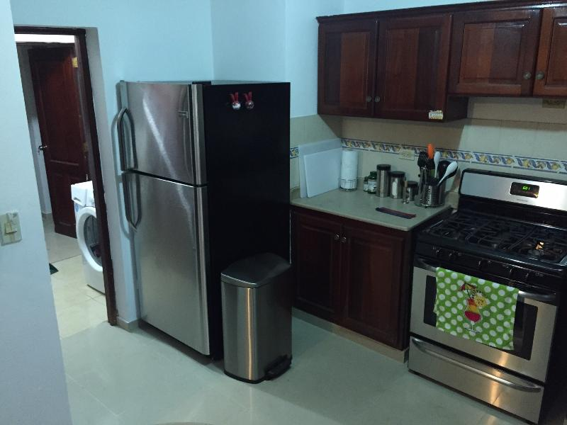 The kitchen and laundry