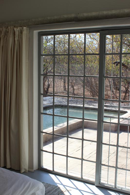 View on pool from queen bedroom