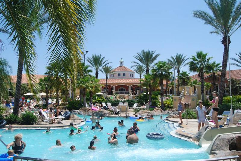 The popular water park at the clubhouse, with lazy river and water slide