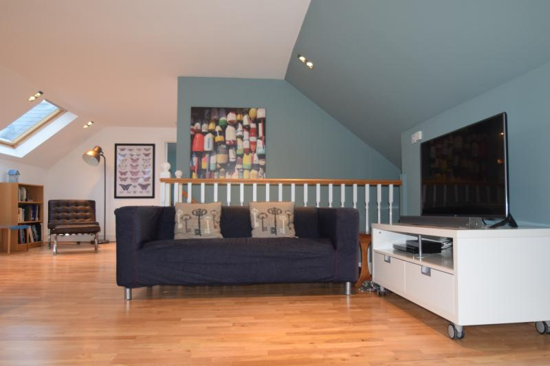 Our newly refurbished sitting room has a 43' Smart TV and a wireless speaker for your music