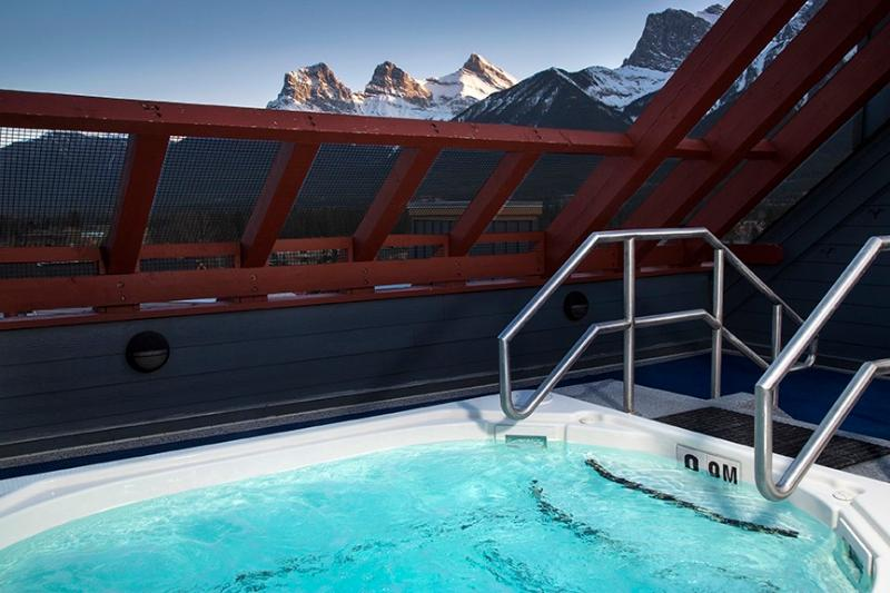 Roof top hot tub offers views of entire Bow Valley.   Great at night and in early morning.