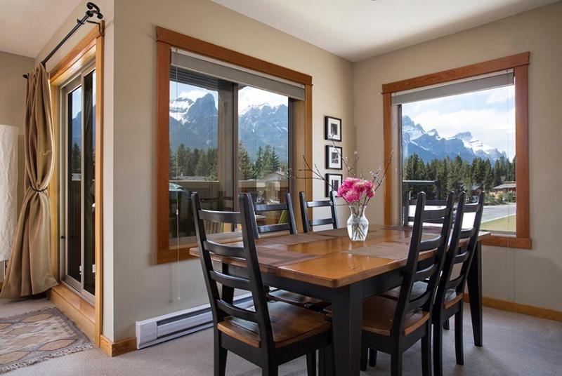 View from dining area is into Banff National Park.  Rundle Range.