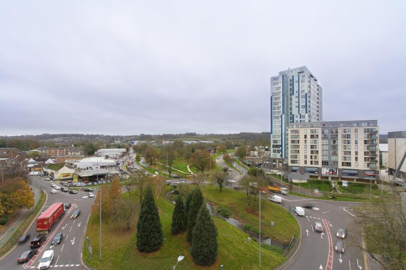 """Views onto the """"magic roundabout"""".  The Apartment is on the 8th floor."""
