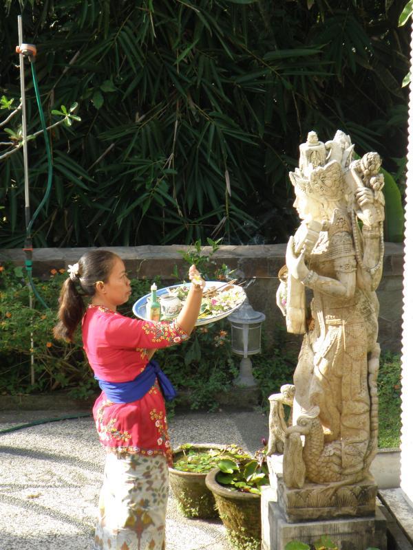 Balinese offerings to goddess Saraswati