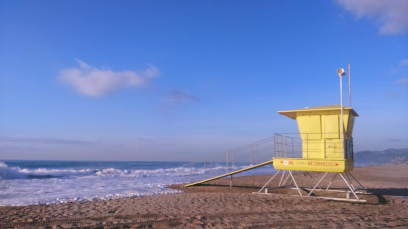 Morning beach in winter