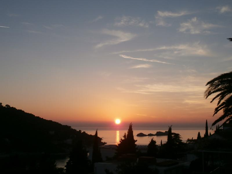 Sunset in Dubrovnik, photo taken from the balcony of the Calma apt.