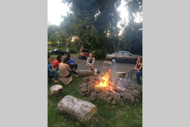 Guests enjoy the fire pit